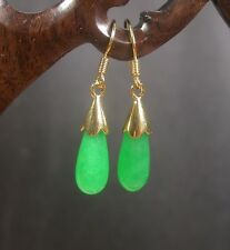 Gold Plate CHINESE Green JADE Earring Earrings Dangle Teardrop 253155