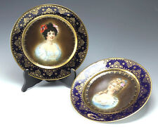 2pc Royal Vienna Porcelain Cabinet Plates with Gilt,  Portrait of Young Women