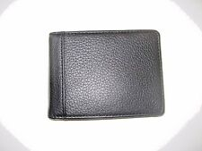 Trafalgar Mens Bi-Fold Black textured Leather Money Clip wallet NIB Ships Free
