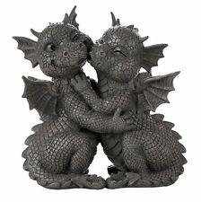 Garden Dragon Loving Couple Display Decorative Accent Sculpture Stone Finish 10""