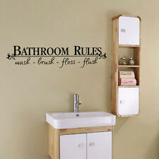 Removable BATHROOM RULES Vinyl Wall Art Decal Words Quote Sticker Decal Decor