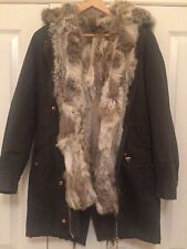 On Parle De Vous Paris Real Rabbit Fur Lined Parka U.K. 8 FR 36
