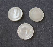 3 ANTIQUE VICTORIAN CARVED MOP MOTHER OF PEARL LARGE ROUNDED BUTTONS