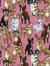 CHIHUAHUAS DOGS PUPPIES PUPPY PET #3650 COTTON QUILT BTY TIMELESS TRESURE FABRIC