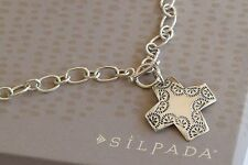 "Silpada Sterling Silver Link Cross ""Virtuosity"" Front Toggle Necklace N0557"