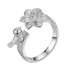 925 Silver Plt Bird & Pink Zircon Flower Ring, Thumb Ring Adjustable ladies gift
