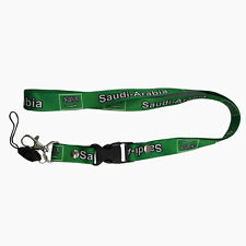 SAUDI ARABIA GREEN COUNTRY FLAG LANYARD KEYCHAIN PASSHOLDER .. NEW