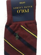 Polo Ralph Lauren Socks~Wine Diagonal Collegiate Stripe~Green Logo~NWT