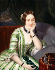 Hand painted Oil painting noble lady sitting before her Jewelry Box necklace