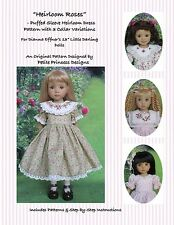 """Heirloom Roses"" Puffed Sleeve Dress Pattern for 13"" Effner Little Darling Dolls"