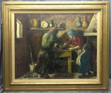 Old Vintage Framed Oil Painting Kitchen Women Cooking Stove Signed Lami Framed