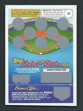 Jose Canseco 1992 Topps Match the Stats Game Card #42; Unscratched