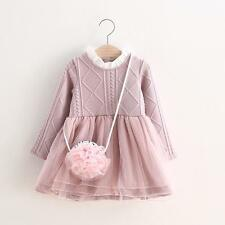 Lovely baby girls pink knitted tutu dress Winter long sleeves princess dress