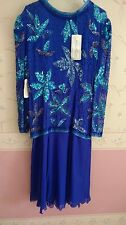 STUNNING!!  New Eves Allure Beaded Sequin Blue Silk Dress Size Large