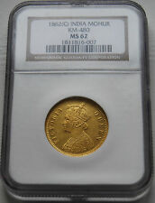 Rare1862 British India NGC MS62 Gold Mohur