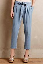 New Anthropologie Chambray Paperbag Trousers Sz LP Runs Big Fit XL P NIP