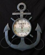 Anchor Ships Wheel Clock Nautical Marine Maritime Pirate Decor Large Metal New
