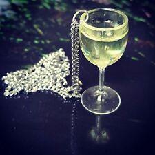 Unique WHITE WINE GLASS NECKLACE handmade CHARDONNAY pinot grigio VINO SAUVIGNON