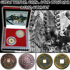FIRST WAR ON DRUGS - Great Britain, China, & The Opium War 2 Coin Set in BOX+COA