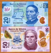 SET Mexico, 20;50 Pesos, 2011-2015, POLYMER, P-New, UNC