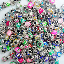 10PCS  Mixed Silver Rhinestone Spacer European Charm BeadS Fit Necklace Bracelet