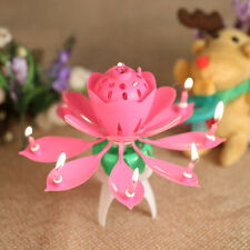 Cake Topper Birthday Lotus Flower Decoration Candle Blossom Musical Rotating New