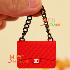 1/6 Scale Dollhouse Miniature RED Metal Chain TOy Plastic Lady Handbag Bag