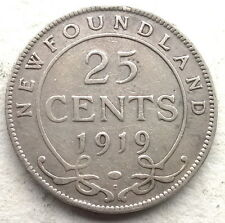 Newfoundland 1919 George V 25 Cents Silver Coin