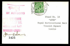 1934 BY AUTOGYRO - AIR POST EXHIBITION - SIGNED - GB #159 FRANKING (ESP#2065)