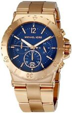 MICHAEL KORS STAINLESS STEEL ROSE GOLD TONE CHRONO BLUE DIAL LADIES WATCH MK5410