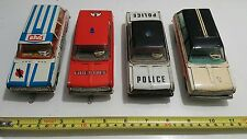 VINTAGE POLICE FIRE CHIEF AUTO TELEV. SERVICE EHRI DDR OPEL TIN TOY FRICTION SET