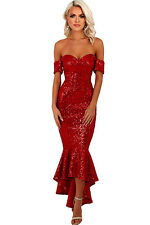 New Stunning Red Off Shoulder Sequins Hi low Mermaid Fishtail Dress 8 10 12 14