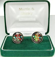 1970 6D cufflinks from SCARCE coins Black and colours