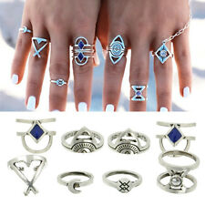 8PCS Vintage Boho Evil Eye Midi Ring Sets Carved Moon Arrow Knuckle Joint Rings