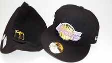 NEW ERA HAT CAP FITTED LOS ANGELES LAKERS SIZE 7 1/4 BLACK YELLOW NBA 59FIFTY