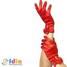 RED SHORT BURLESQUE MAGICIAN GLOVES WITH BOW - womens ladies fancy dress