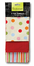 Cooksmart Spots  Stripes Tea Towels Pack of 3 Drying Cloth Kitchen Cotton New
