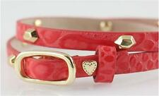 New Stella & Dot Hudson Red Leather Wrap Bracelet with Gold Studs