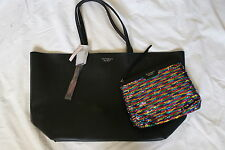 Victoria's Secret Tote Bag Purse Black Sequin Clutch Faux Leather New