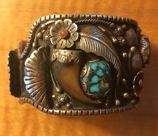 Navajo Signed Heavy Turquoise, Coral Unisex, Sterling, Badger Claw Watch Cuff