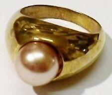 bague style chevalière couleur or patiné perle nacré rosé T.51 * 5129
