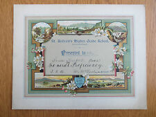 Antique 1904 Certificate St Andrew's Higher Grade School BIRKENHEAD Barfoot