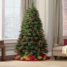 Christmas Tree and Stand 7Ft Pre-Lit Madison Pine with 350 Color Lights NEW
