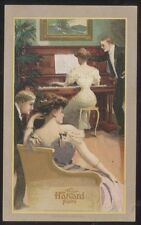 POSTCARD MARYSVILLE OHIO  Wm. WEAVER MUSIC STORE HARVARD PIANO CO PROMO AD 1910