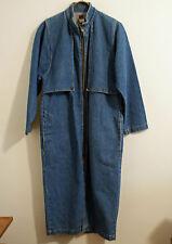 Long Denim Duster Coat Misses Petite Small Zipper Front Slit in Back
