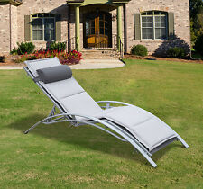 Lounge Chair Reclining Chair Chaise Recliner Pool Furniture Patio W/ Pillow