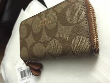 100% Authentic NWT Coach Signature PVC Small Double Zipper Card Holder Wallet