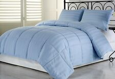 3pcs Hotel Dobby Stripe Goose Down Alternative Comforter Set, Blue, Full/Queen