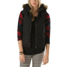 NEW Vans WOMENS S SM OVERWOOD VEST Jacket COAT NWT BLACK HOODED PUFFER PRIMALOFT