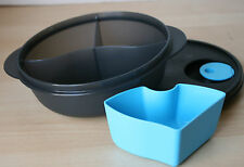 Tupperware Crystalwave Micro Divided Dish/Cold Cup Black/Blue Color 4 Cups NEW